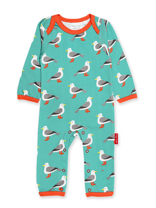 Teal Seagull Print Sleepsuit - Toby Tiger