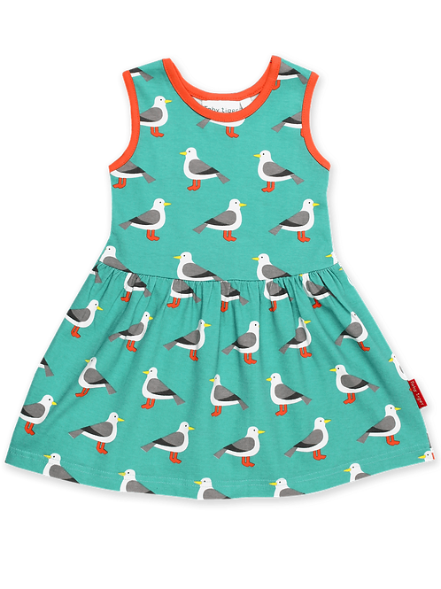 Teal Seagull Print Summer Dress - Toby Tiger