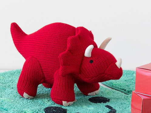 Knitted Mini Triceratops Rattle Red - Pebble Toys