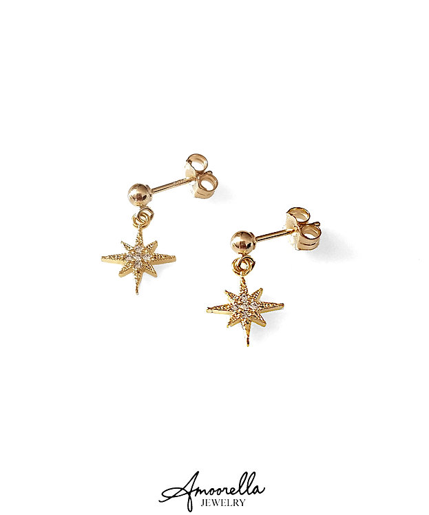Tiny North Star CZ Earrings
