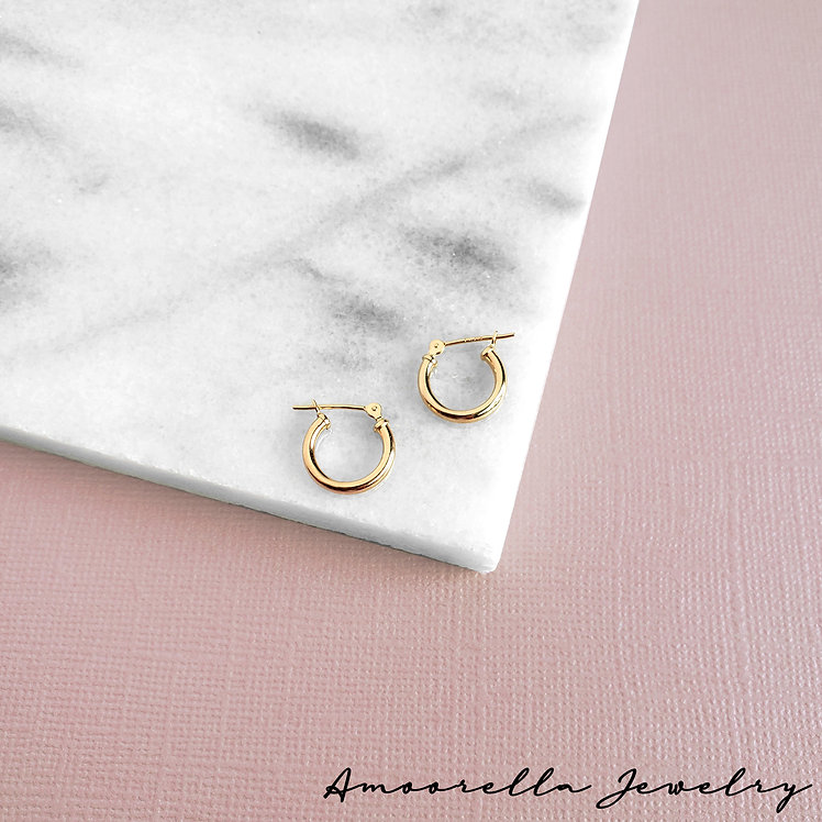 14k Solid Yellow Gold Hoops - 2mm Thick