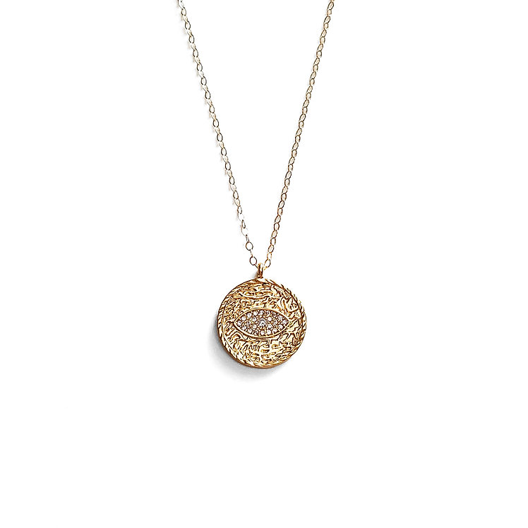 Pave Evil Eye Coin Necklace