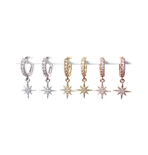 North Star CZ Hoop Earrings