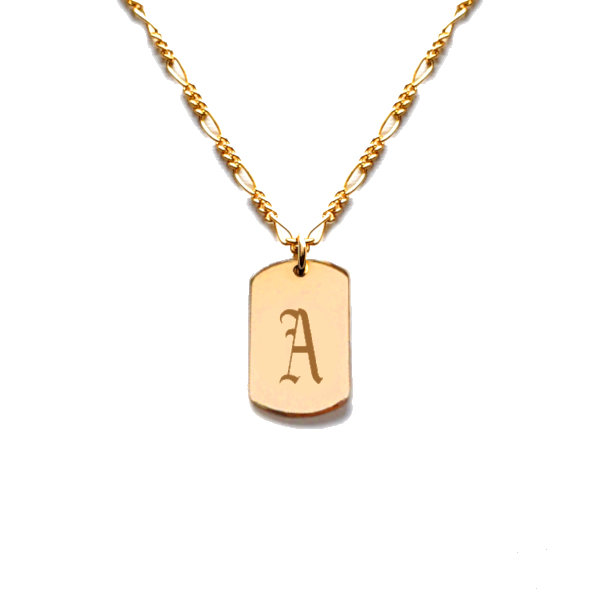 Gothic Initial Dog Tag Necklace