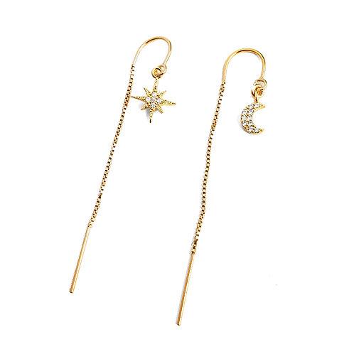 Moon & Star CZ Threader Earrings