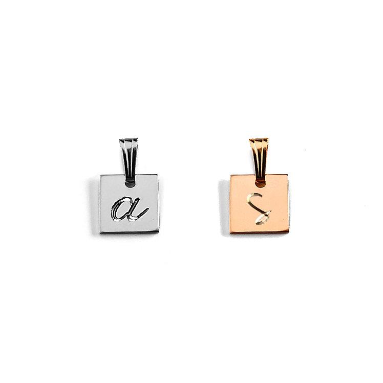 Mini Square Initial Pendant