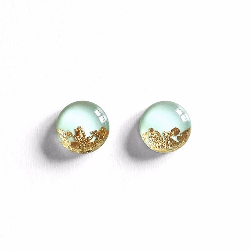 Pale Mint Leaf Dipped Studs