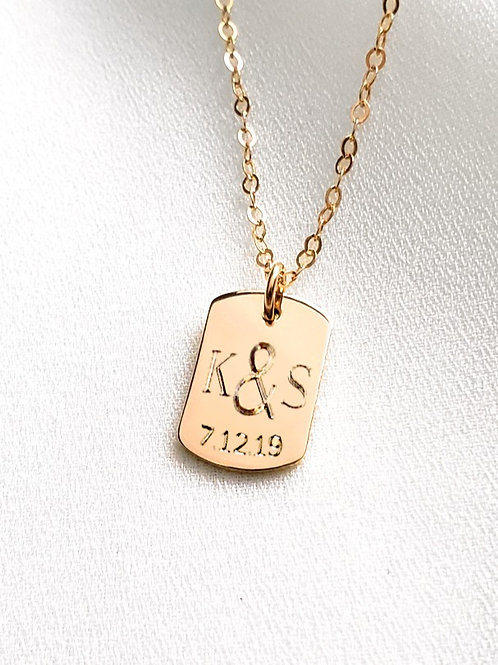 Wedding Date Necklace | Dog Tag