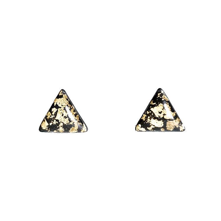 Black Gold Leaf Triangle Studs