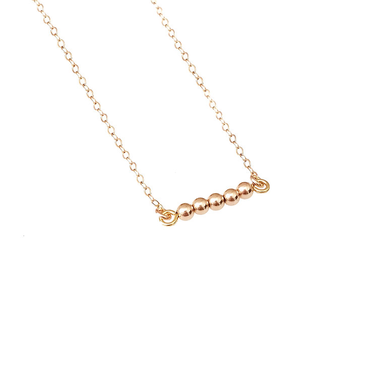 Dainty Beaded Bar Necklace