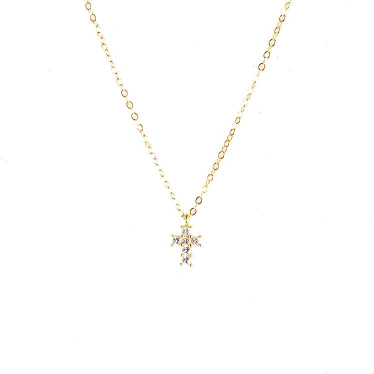Tiny CZ Cross Necklace