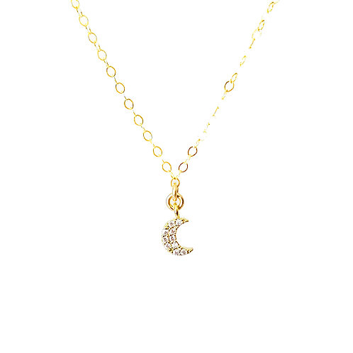 Teeny Tiny Crescent Moon CZ Choker OR Necklace