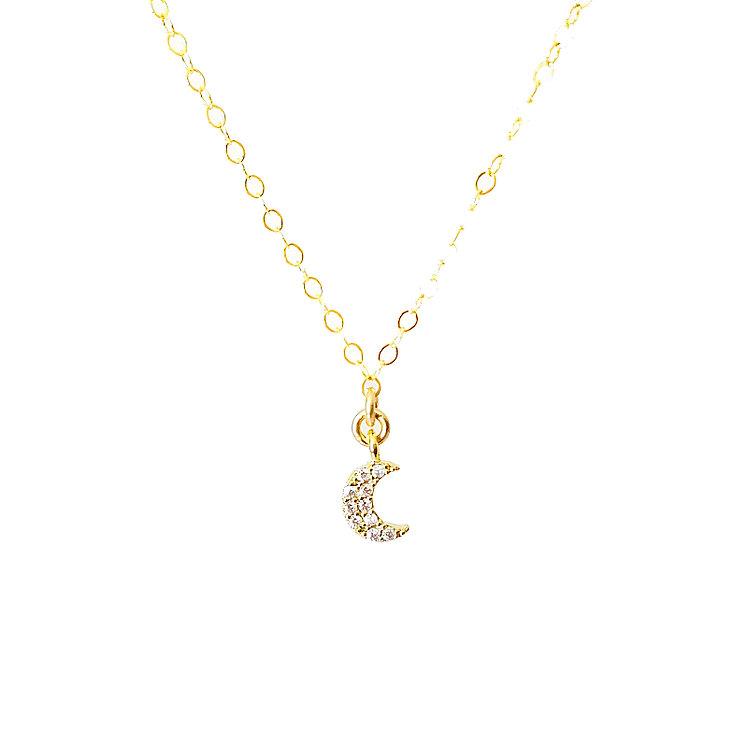 Teeny Tiny Crescent Moon CZ Choker OR Necklace