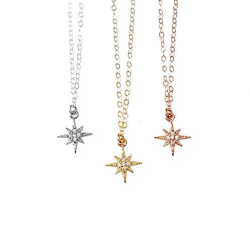 Teeny Tiny North Star CZ Necklace