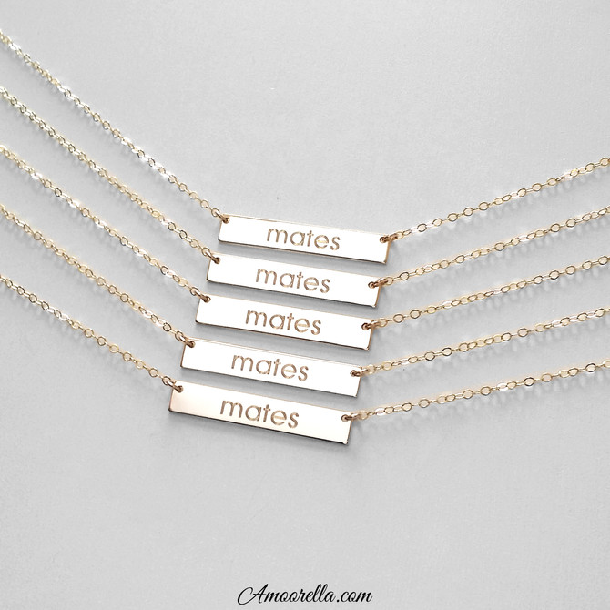 Personalized bar necklaces are perfect gifts for the mates in your life!