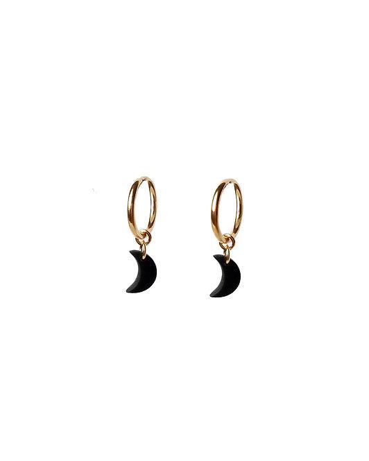 Black Crescent Moon Hoop Earrings