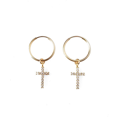 Cross CZ Hoops
