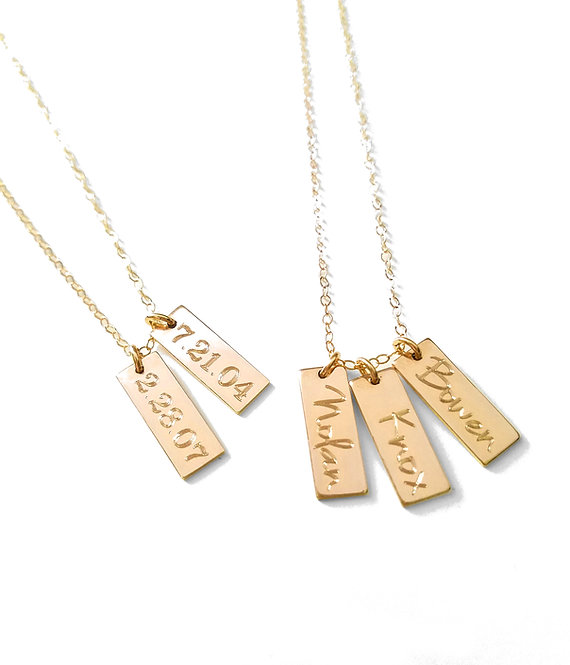 Short Vertical Bar Tag Necklace