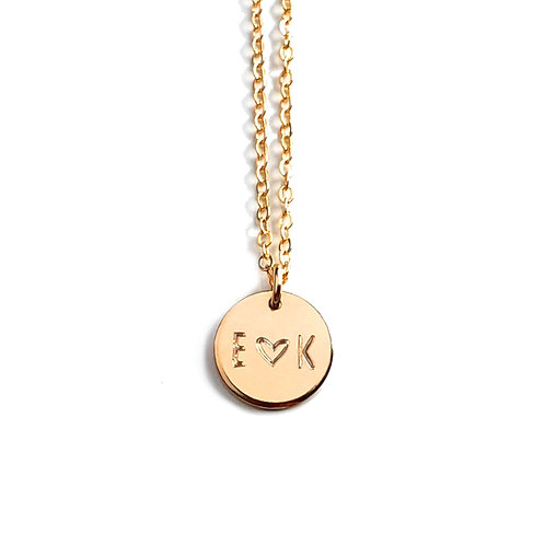 "1/2"" Initial Disc Necklace (Double Sided Engraving)"