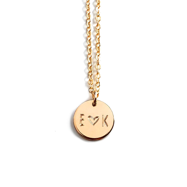 """1/2"""" Initial Disc Necklace (Double Sided Engraving)"""