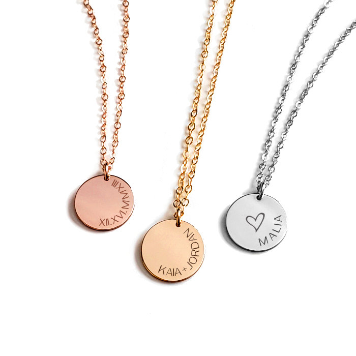 """5/8"""" Initial Disc Necklace Curved Text"""