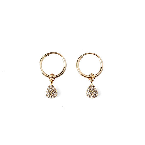 Small Teardrop CZ Hoops