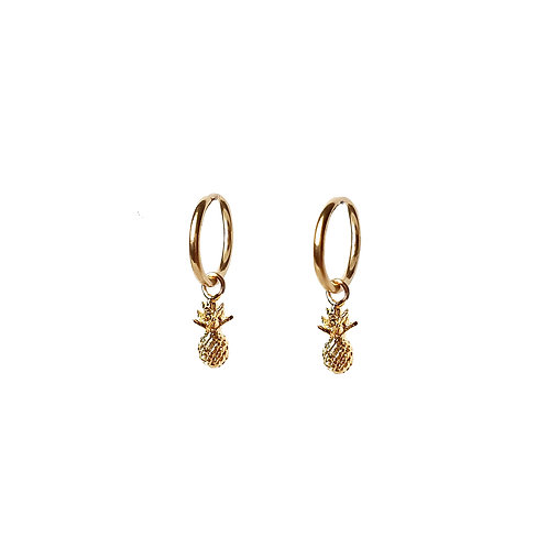 Tiny Pineapple Hoop Earrings