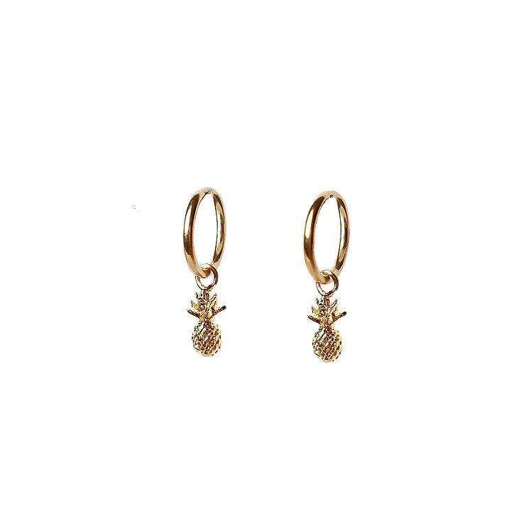Tiny Pineapple Hoop Earrings