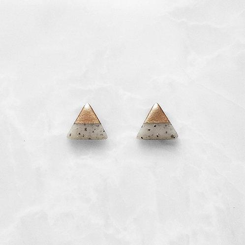Light Granite & Rose Gold Triangle Studs