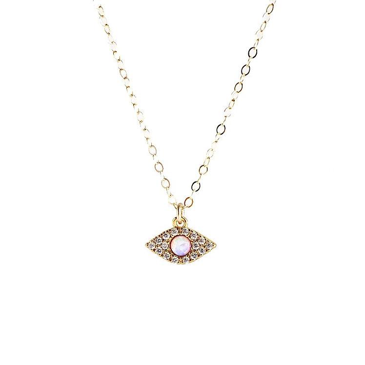 Opal Evil Eye CZ Necklace