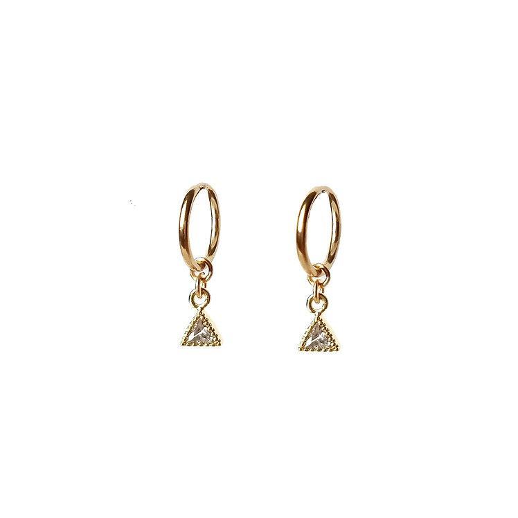 Tiny Triangle CZ Hoop Earrings