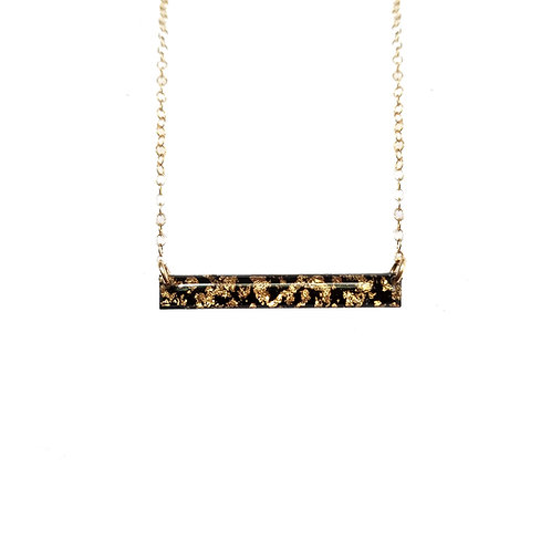 Black & Gold Leaf Bar Necklace