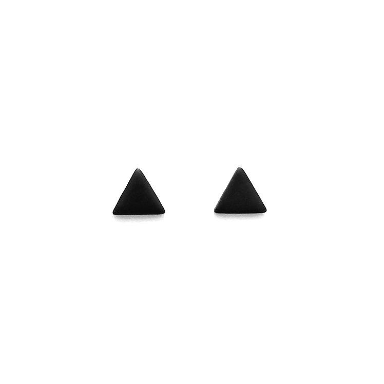 Black Simply Matte Triangle Studs