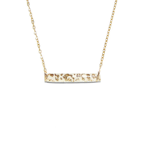 White & Gold Leaf Bar Necklace