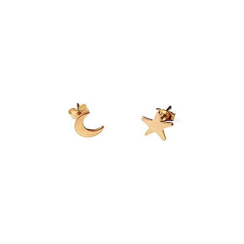 Tiny Crescent Moon & Star Stud Earrings