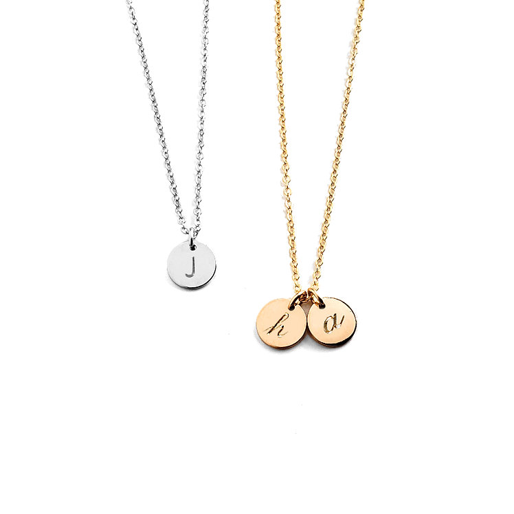 "5/16"" (8mm) Tiny Initial Disc Initial Necklace (Add Multiple Tags)"