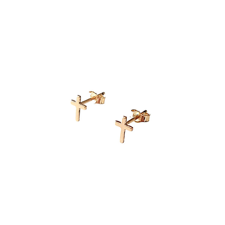 Tiny Cross Stud Earrings