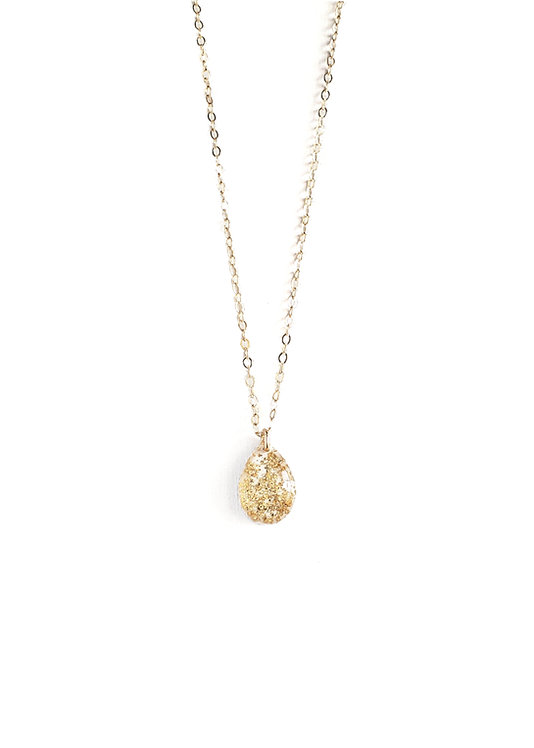 White & Gold Leaf Teardrop Necklace