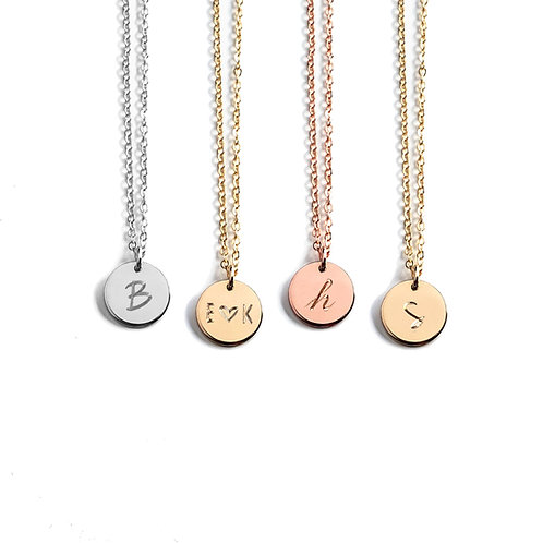 "3/8"" (10mm) Initial Disc Necklace (Double Side Engraving)"