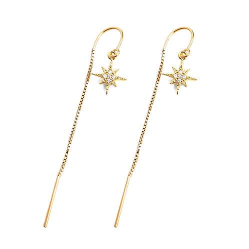 North Star CZ Threader Earrings
