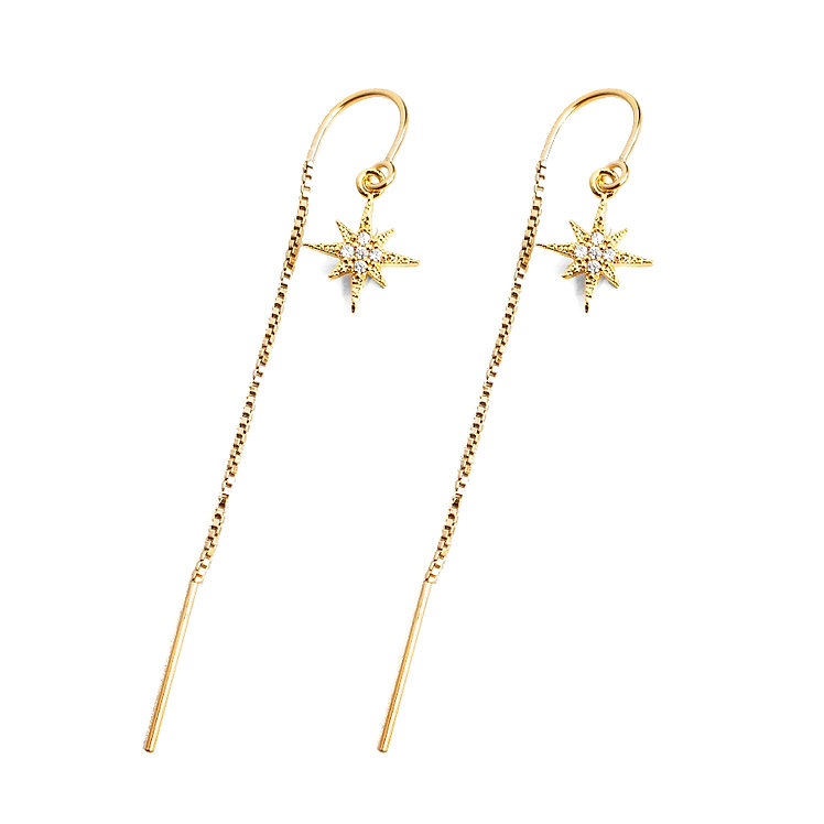 North Star CZ Threader Earrings