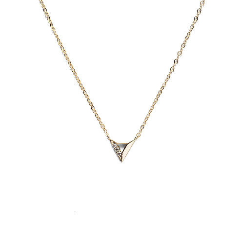Tiny Gold Triangle CZ Necklace