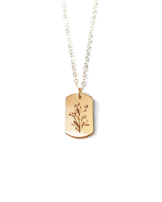 Wildflowers Dog Tag Necklace