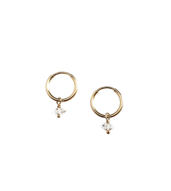 Tiny Herkimer Diamond Hoops