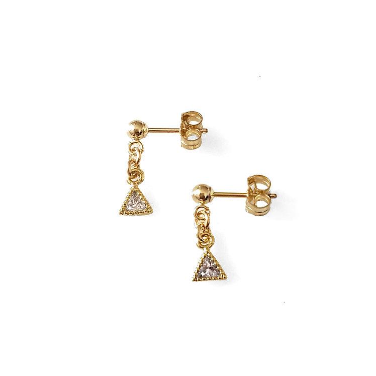 Tiny Triangle CZ Earrings