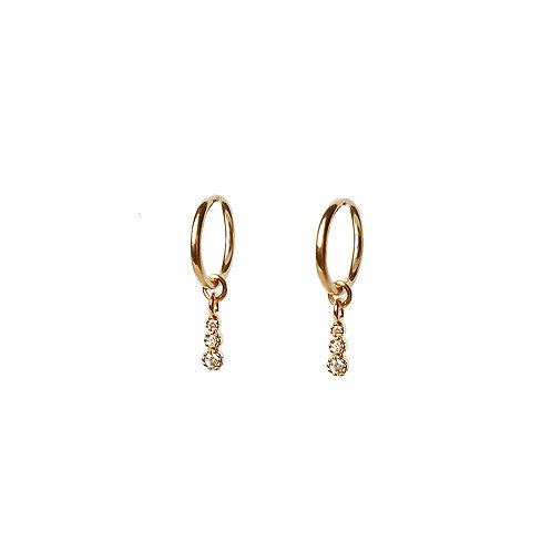 Tiny Triple CZ Hoop Earrings
