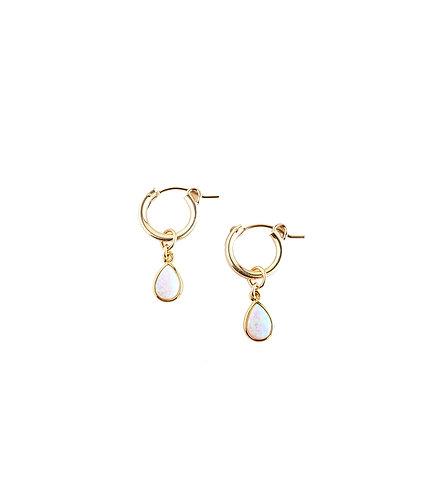 Opal Teardrop Hoops