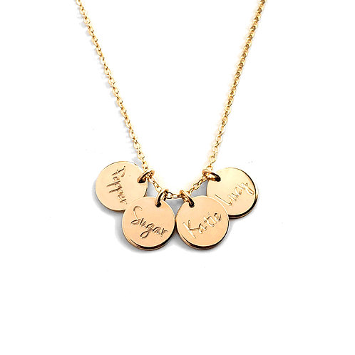 """3/8"""" (10mm) Disc Initial Necklace (Add Multiple Tags)"""