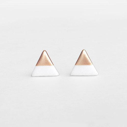 White Triangle Studs
