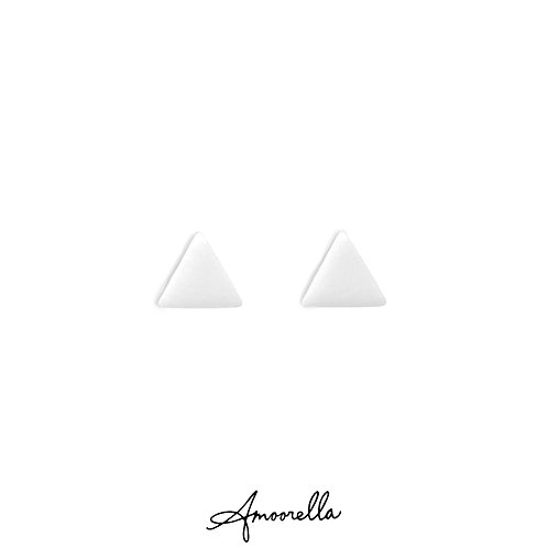 White Simply Matte Triangle Studs